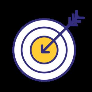 Ikon: en pil mitt i en piltavla