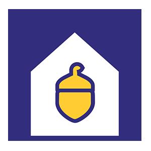 Ikoni: Työllisyysrahaston terho talon sisällä