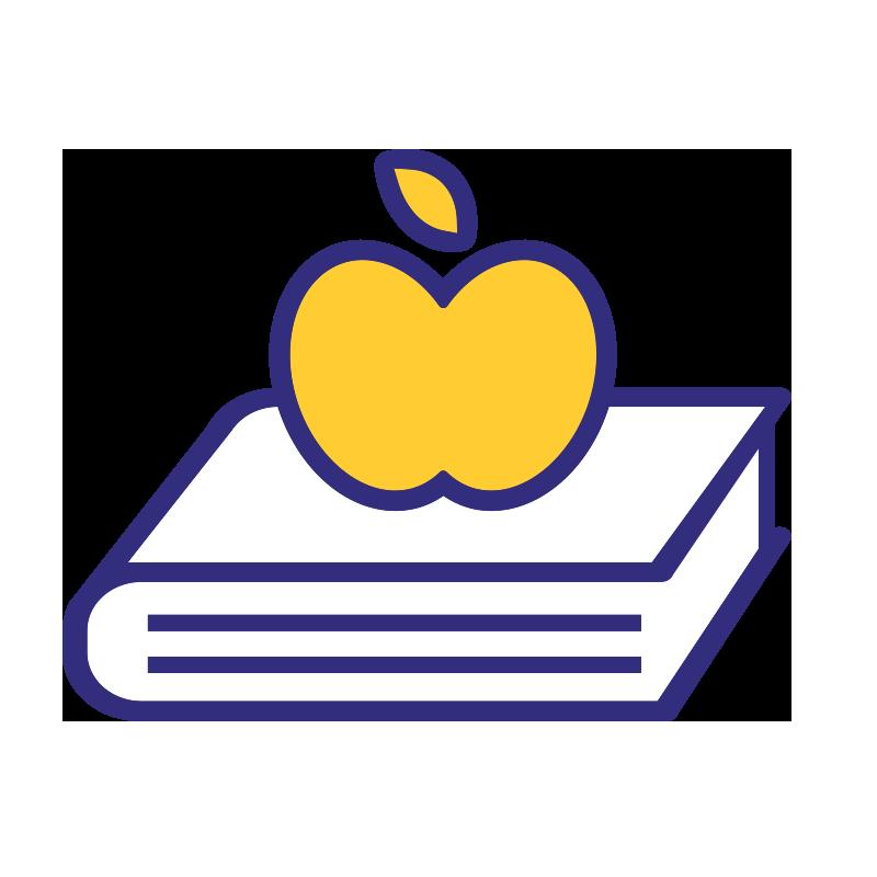 Aikuiskoulutustukiin liittyvä ikoni, jossa on omena kirjan päällä.