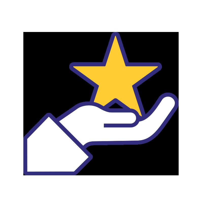 Asiakkaamme ensin -aiheinen ikoni, jossa ojentavan kämmenen päällä on tähti.