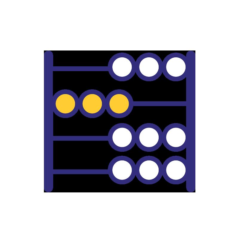 Talouslukuihin liittyvä ikoni, jossa on helmitaulu.