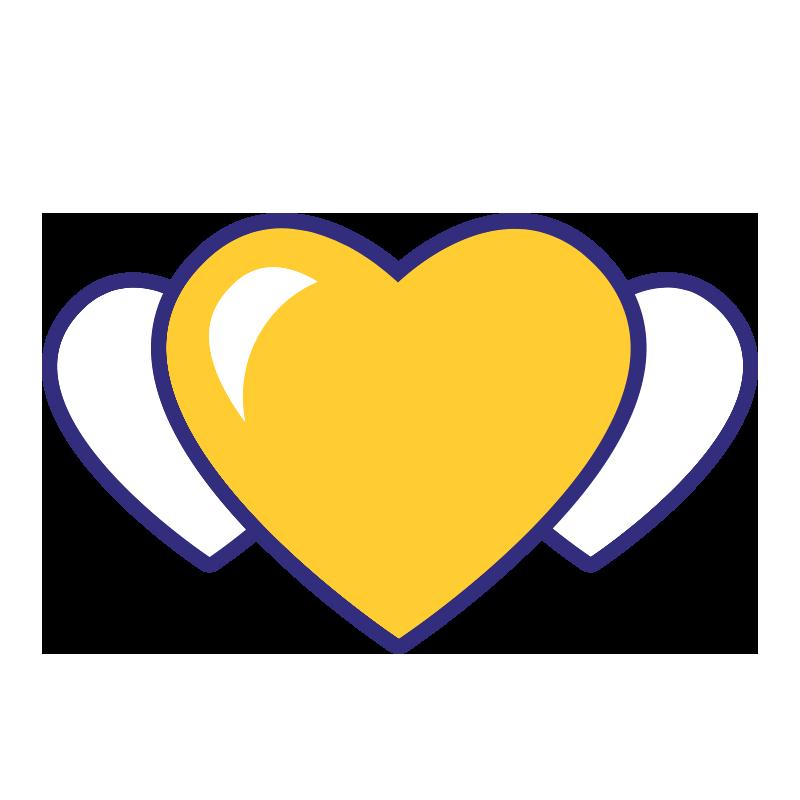 Mission ikoni: kolme sydäntä rinnakkain.