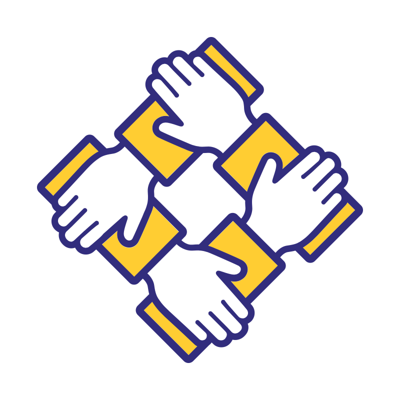 Yhtenäisyyttä kuvaava ikoni, jossa kädet pitävät toisistaan kiinni.
