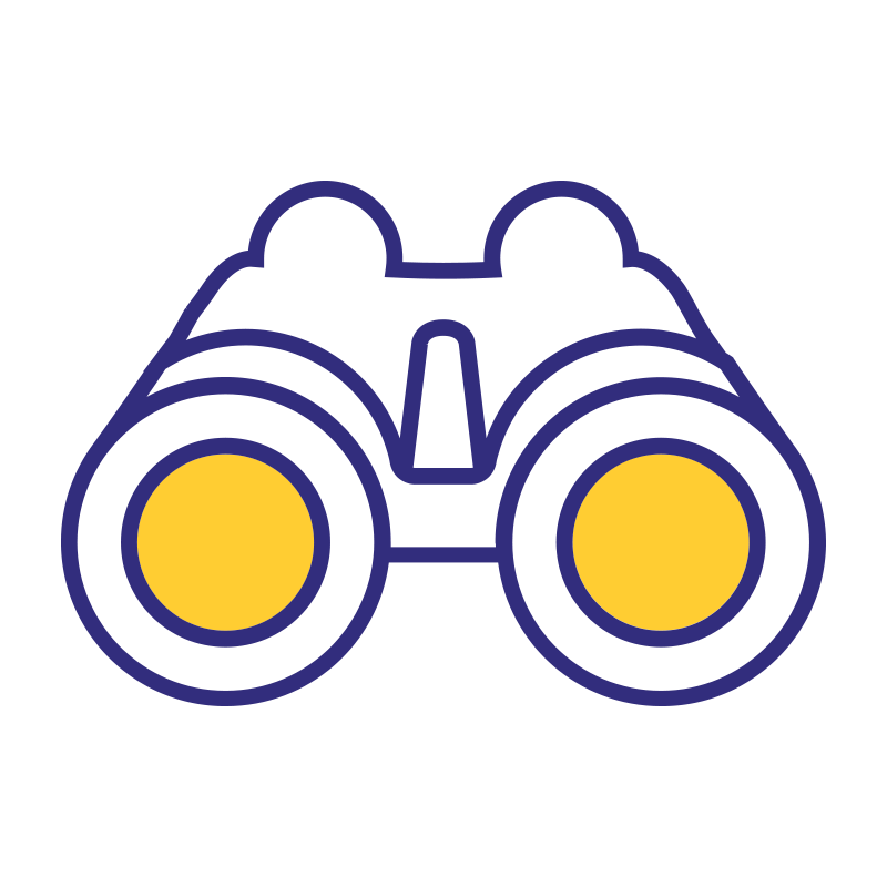 Vision ikoni, jossa on kiikarit.
